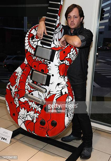 Artist Stephen M Taylor attends the unveiling of the 2012 Gibson Guitartown new round of guitars on The Sunset Strip at Hornburg Jaguar on March 12...