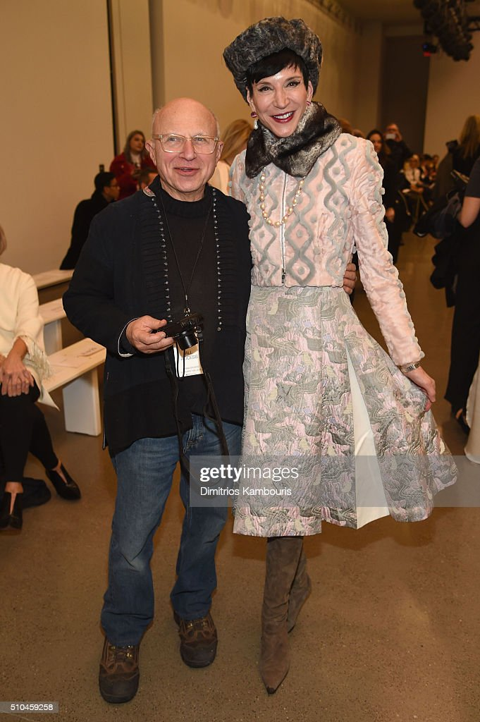Artist Stephen Posen and Vanity Fair specialty correspondent Amy Fine Collins attend the Zac Posen Fall 2016 fashion show during New York Fashion Week at Spring Studios on February 15, 2016 in New York City.
