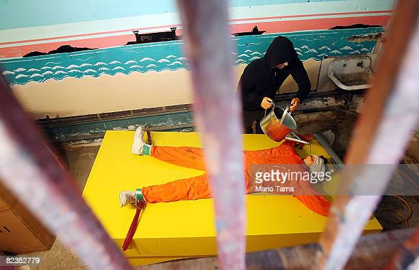 Artist Steve Powers' installation 'Waterboard Thrill Ride' is seen at the Coney Island arcade August 14 2008 in the Brooklyn borough of New York City...