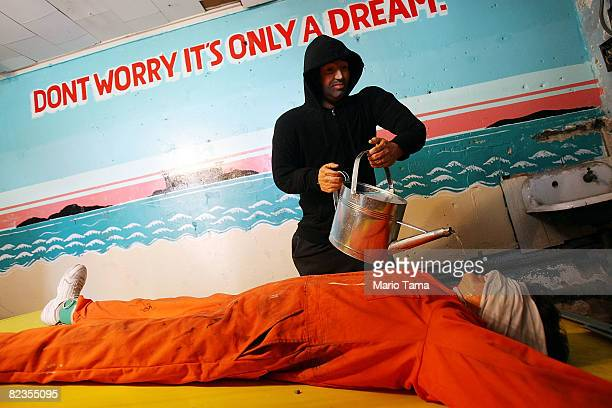 """Artist Steve Powers' installation """"Waterboard Thrill Ride"""" is seen at the Coney Island arcade August 14, 2008 in the Brooklyn borough of New York..."""