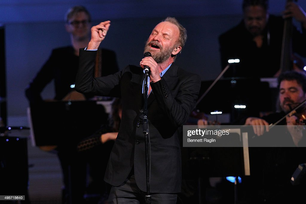 Artist Sting performs onstage during Change Begins Within: A David Lynch Foundation Benefit Concert on November 4, 2015 in New York City.