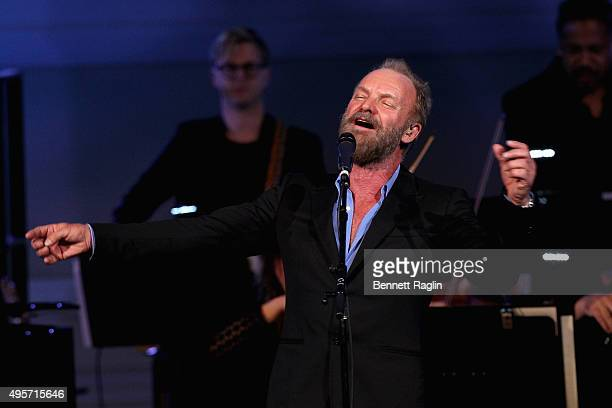 Artist Sting performs onstage during Change Begins Within A David Lynch Foundation Benefit Concert on November 4 2015 in New York City