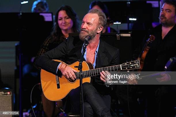 Artist Sting performs onstage during Change Begins Within A David Lynch Foundation Benefit Concert at Carnegie Hall on November 4 2015 in New York...
