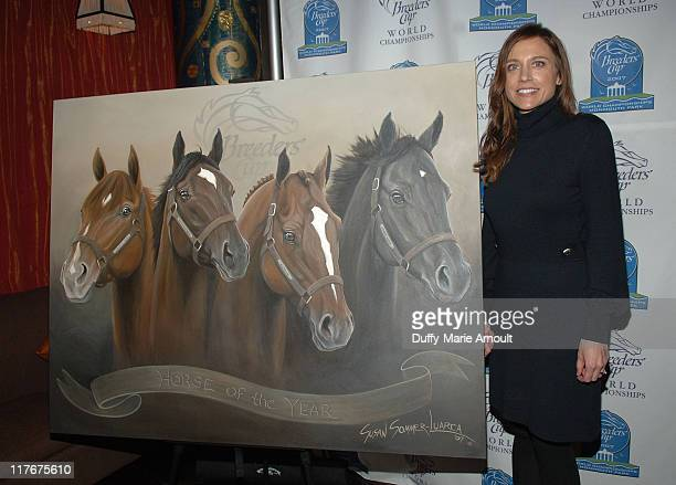 Artist Susan SommerLuarca unveils her commemorative painting 'Horse of the Year' to benefit the NTRA Charities Permanently Disabled Jockeys Fund at...