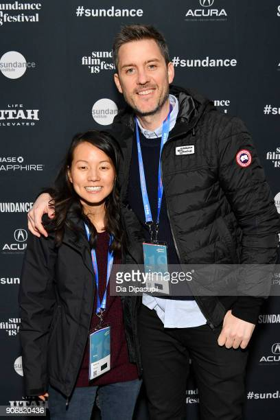 Artist Susane Lee and Director Andrew Olsen attend the Filmmakers Welcome Reception during the 2018 Sundance Film Festival at The Shop on January 18...