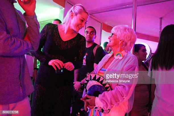 Artist Sydney Krause and Instagram personality Baddie Winkle attend 'Motelscape' an interactive fantasy performance and installation presented by...
