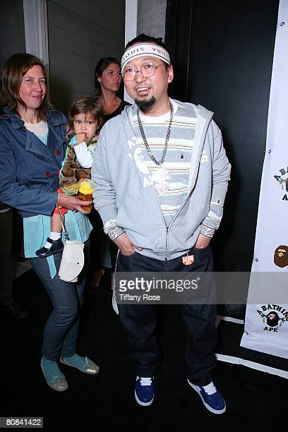 Artist Takashi Murakami arrives at the BAPE Store Opening on Melrose Avenue on April 23 2008 in West Hollywood California