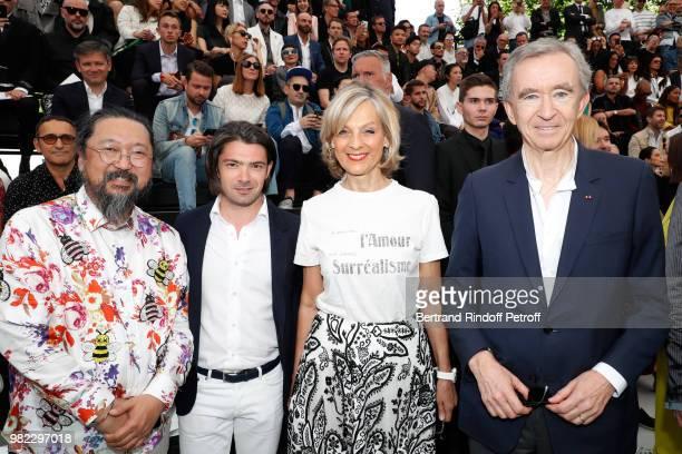 Artist Takashi Murakami Cellist Gautier Capucon Ower of LVMH Luxury Group Bernard Arnault and his wife Helene attend the Dior Homme Menswear...