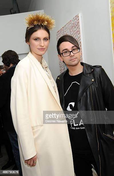 Artist Tali Lennox and designer Christian Siriano attend Tali Lennox Exhibition Opening Reception at Catherine Ahnell Gallery on March 18, 2015 in...