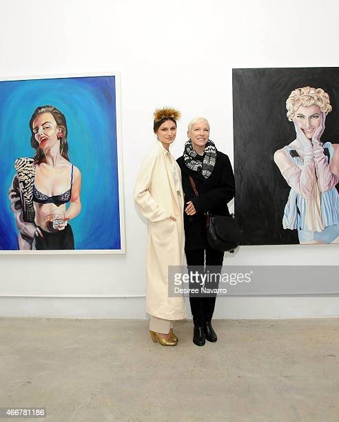 Artist Tali Lennox and singer Annie Lennox attend Tali Lennox Exhibition Opening Reception at Catherine Ahnell Gallery on March 18, 2015 in New York...