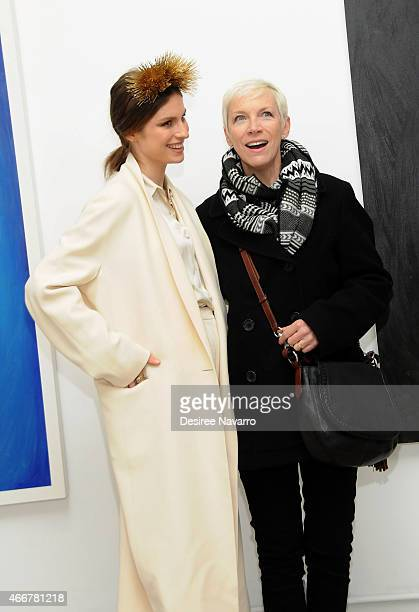 Artist Tali Lennox and singer Annie Lennox attend Tali Lennox Exhibition Opening Reception at Catherine Ahnell Gallery on March 18 2015 in New York...