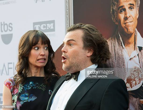 Artist Tanya Haden and actor Jack Black arrive for the AFI Life Achievement Award Gala Honoring Steve Martin in Hollywood California June 4 2015 AFP...