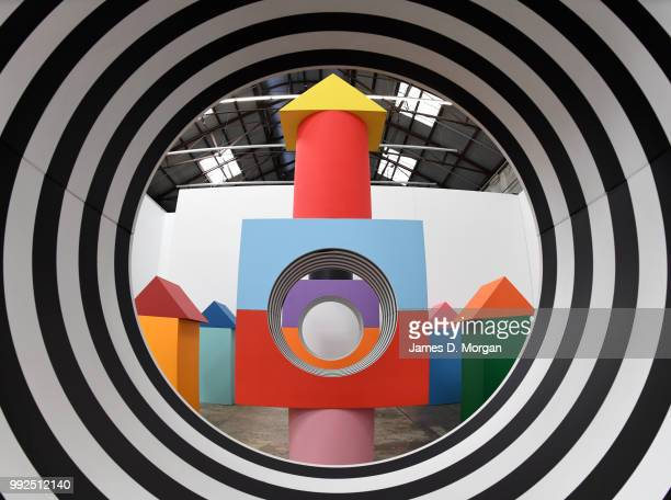 Artist The work of French artist Daniel Buren 'Like Child's Play ' at Carriageworks on July 6 2018 in Sydney Australia It is Buren's first solo show...