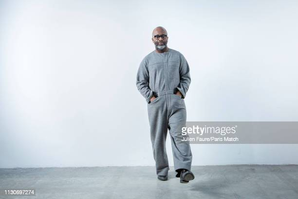 Artist Theaster Gates is photographed by one of his works 'Altaar' for Paris Match at the Palais de Tokyo museum on February 13 2019