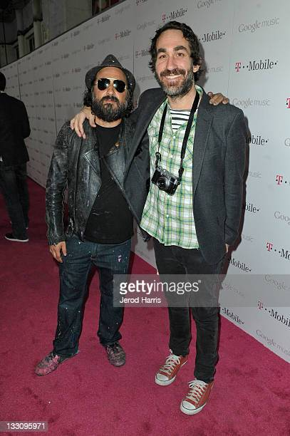 Artist Thierry Guetta aka Mr Brainwash and Brent Bolthouse arrive on the TMobile magenta carpet for the launch of Google Music hosted by TMobile at...