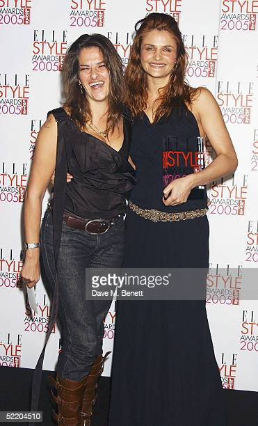 Artist Tracey Emin and model Helena Christensen in the Awards Room with her award for Style Icon Award at the Elle Style Awards 2005 at Spitalfields...