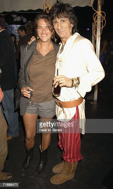 Artist Tracey Emin and Ronnie Wood attend the Rolling Stones after show party at Wood's home on August 20 in Kingston England