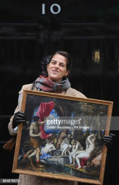 Artist Tracey Emin delivers an artists' petition and a copy of Titian's Diana and Actaeon to Downing Street in London expressing the artists' support...