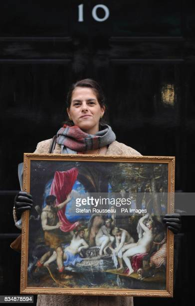 Artist Tracey Emin delivers an artists' petition and a copy of Titian's 'Diana and Actaeon' to Downing Street in London expressing the artists'...