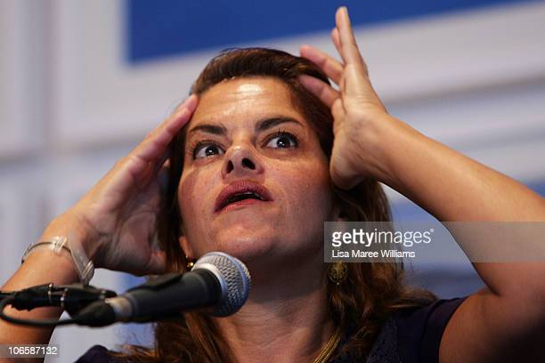 UK artist Tracey Emin is interviewed by Edmund Capon at the Art Gallery Of NSW on November 6 2010 in Sydney Australia Emin is a Turner Prize nominee...