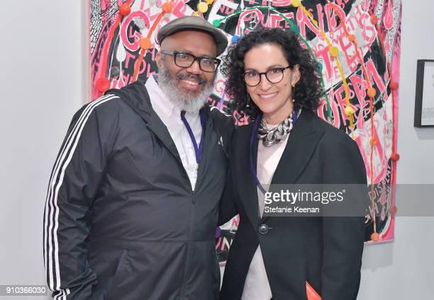 Artist Trenton Doyle Hancock and Shulamit Nazarian at OPENING NIGHT   ART LOS ANGELES CONTEMPORARY 9TH EDITION at Barkar Hangar on January 25 2018 in...