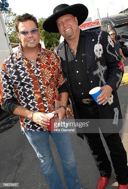 Artist Troy Gentry and Eddie Montgomery of Montgomery Gentry Backstage at Farm Aid 2007 at ICAHN Stadium on Randall's Island NY September 92007