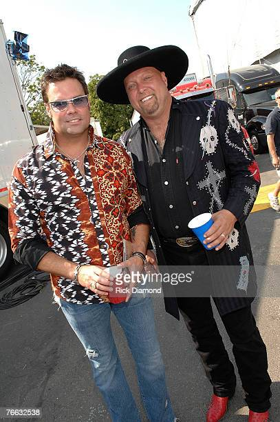 NEW YORK SEPTEMBER 09 Artist Troy Gentry and Eddie Montgomery of Montgomery Gentry Backstage at Farm Aid 2007 at ICAHN Stadium on Randall's Island NY...