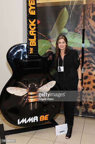 Artist Tsipi Mani attends the unveiling of the 2012 Gibson Guitartown new round of guitars on The Sunset Strip at Hornburg Jaguar on March 12 2012 in...