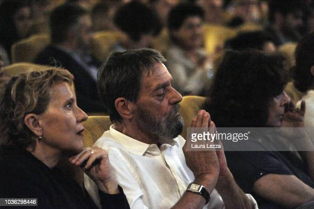 Artist Ulay attends with his wife the press conference to present the exhibition 'Marina Abramovic The Cleaner' in Palazzo Strozzi on September 19...