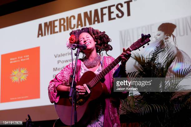 Artist Valerie June performs onstage during a guided meditation, musical reflection, creative inspiration panel for AMERICANAFEST 2021 at The Westin...