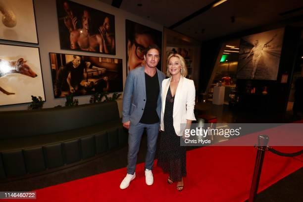 Artist Vincent Fantauzzo and Asher Keddie attend the Fantauzzo launch on May 02, 2019 in Brisbane, Australia.
