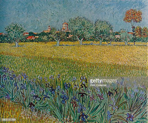 Artist Vincent van Gogh 'View of Ales with Irises in Bloom' 1888 Painting held at the Van Gogh Museum Amsterdam From The Studio Volume 117 [The...
