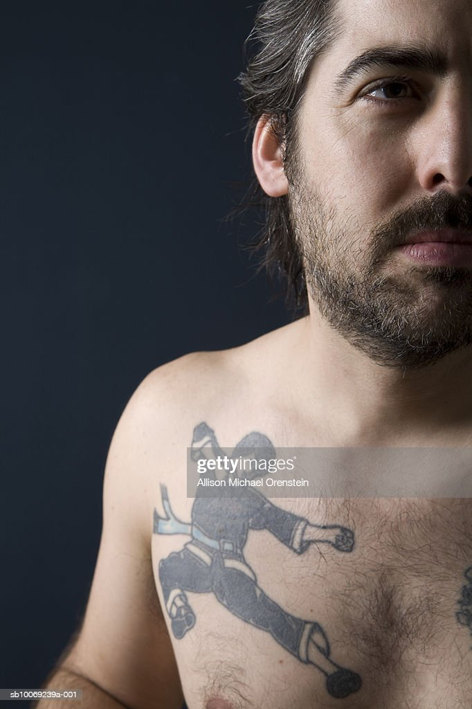 Artist with karate tattoo : Stockfoto