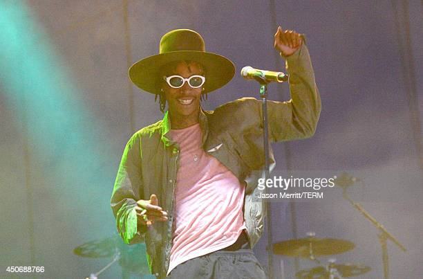 Artist Wiz Khalifa performs during the 2014 Bonnaroo Music Arts Festival on June 15 2014 in Manchester Tennessee