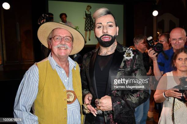 Artist Wolfgang Prinz and designer Harald Gloeoeckler during 'POMPOEOES By Angermaier Collection Presentation' at Deutsches Theatre on August 21 2018...