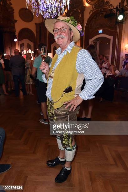 Artist Wolfgang Prinz during 'POMPOEOES By Angermaier Collection Presentation' at Deutsches Theatre on August 21 2018 in Munich Germany