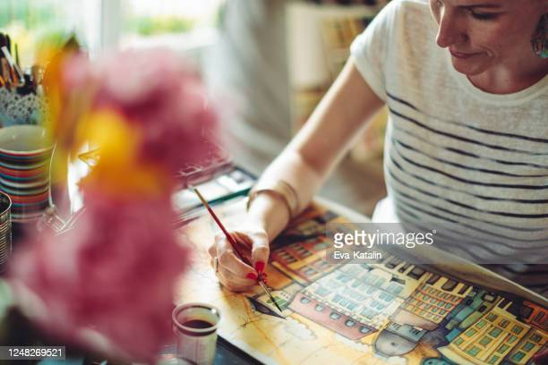 artist working at home - painting art product stock pictures, royalty-free photos & images
