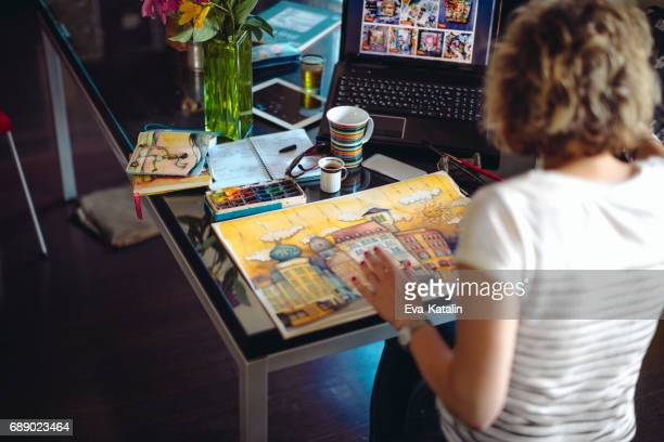 artist working at home - art and craft equipment stock pictures, royalty-free photos & images