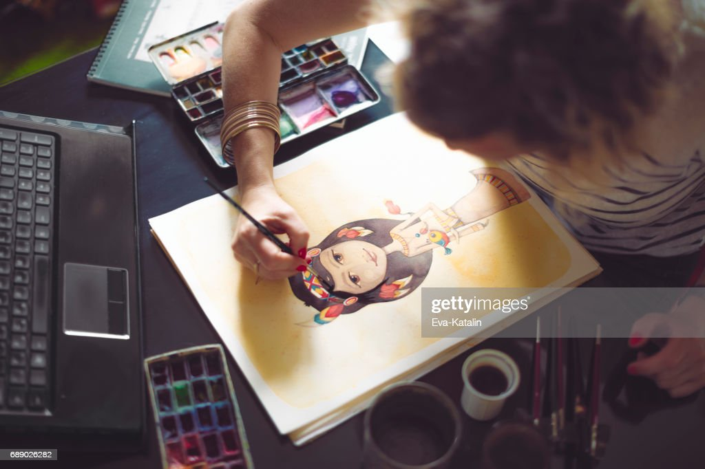 Artist working at home : Stock Photo