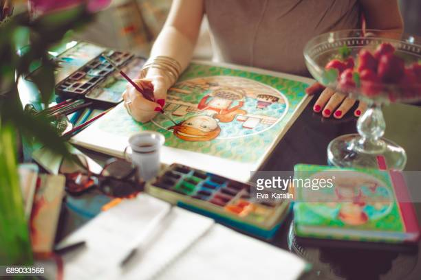 Artist working at home