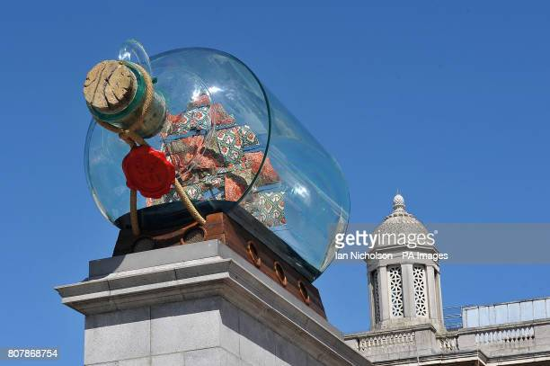 Artist Yinka Shonibare's new work Nelson's Ship In A Bottle is unveiled on the fourth plinth in Trafalgar Square London