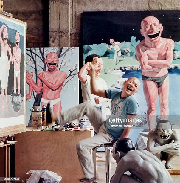 Artist Yiu Minjun is photographed for Vanity Fair Magazine on May 10 2007 in his studio in Beijing China PUBLISHED IMAGE PUBLISHED IN JONATHAN BECKER...