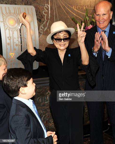Artist Yoko Ono and cofounder of Autism Speaks Bob Wright attend World Autism Awareness Day Celebration at The Empire State Building on April 2 2013...