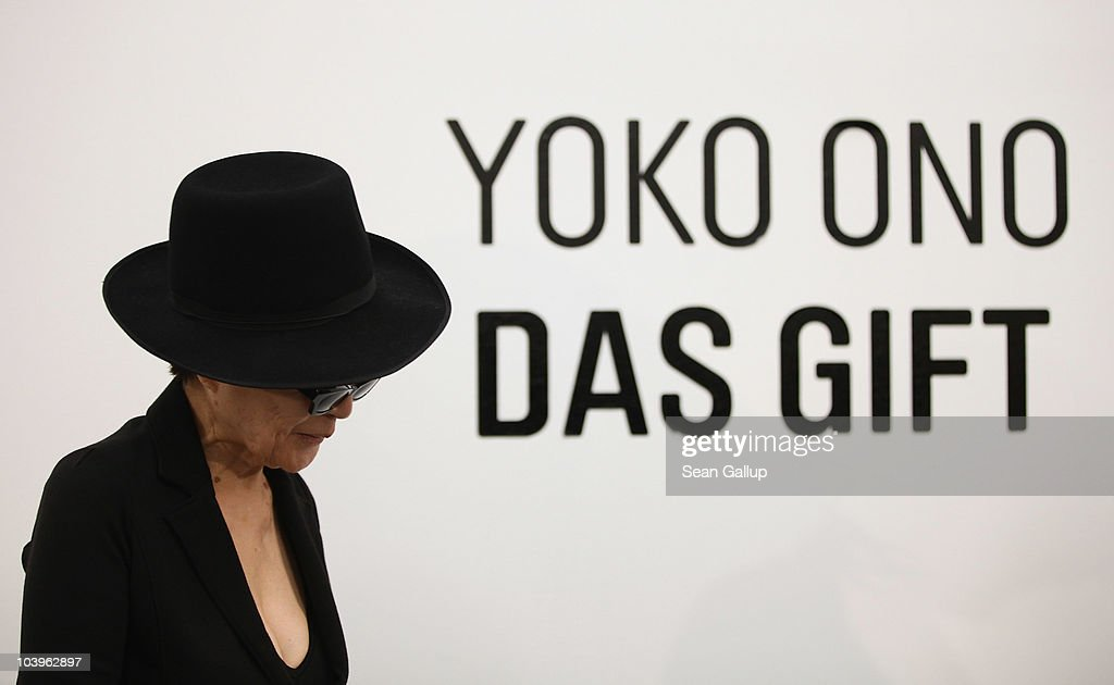 Artist Yoko Ono arrives for a press conference ahead of the opening of her art installation 'Das Gift' at the Haunch of Venison gallery on September 10, 2010 in Berlin, Germany.
