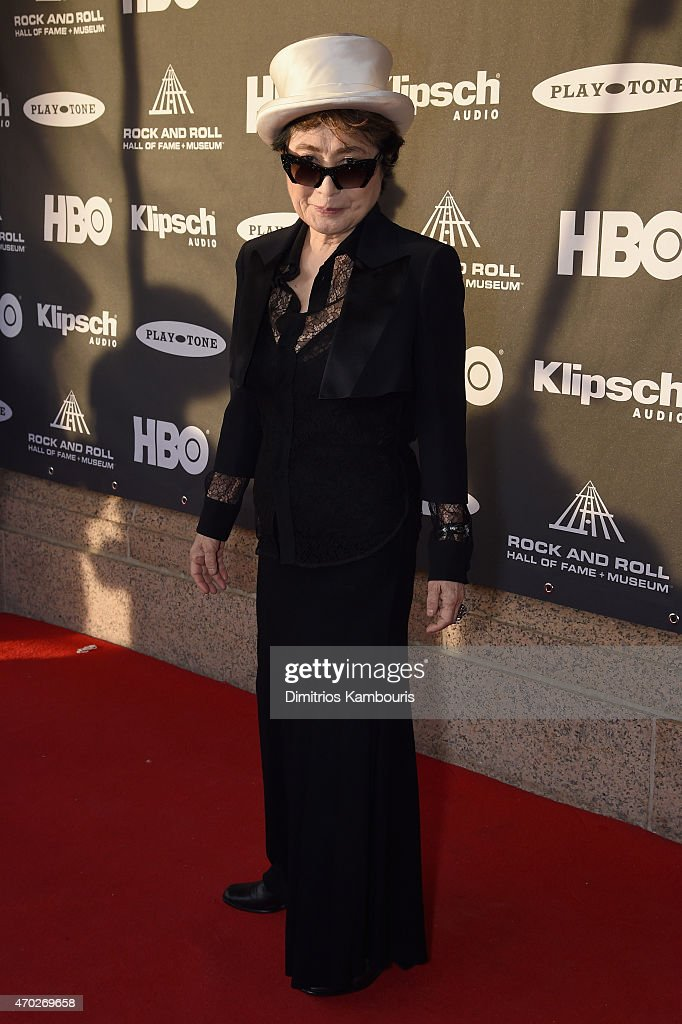 Artist Yoko Ono attends the 30th Annual Rock And Roll Hall Of Fame Induction Ceremony at Public Hall on April 18, 2015 in Cleveland, Ohio.