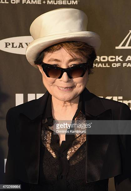 Artist Yoko Ono attends the 30th Annual Rock And Roll Hall Of Fame Induction Ceremony at Public Hall on April 18 2015 in Cleveland Ohio