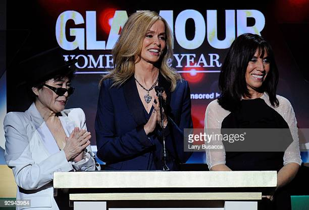 Artist Yoko Ono Barbara Starkey and Olvia Harrison speak onstage at the The 2009 Women of the Year hosted by Glamour Magazine at Carnegie Hall on...