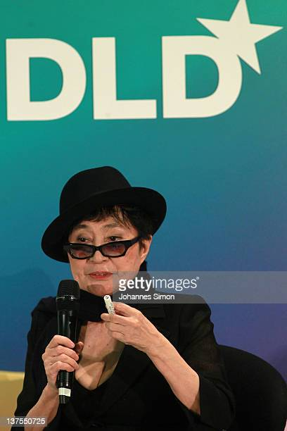 Artist Yoko Ono speaks during the Digital Life Design conference at HVB Forum on January 22 2012 in Munich Germany DLD is a global conference network...