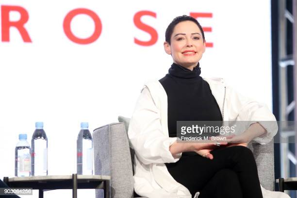 Artist/Activist/Executive producer Rose McGowan of 'Citizen Rose' on E speaks onstage during the NBCUniversal portion of the 2018 Winter Television...