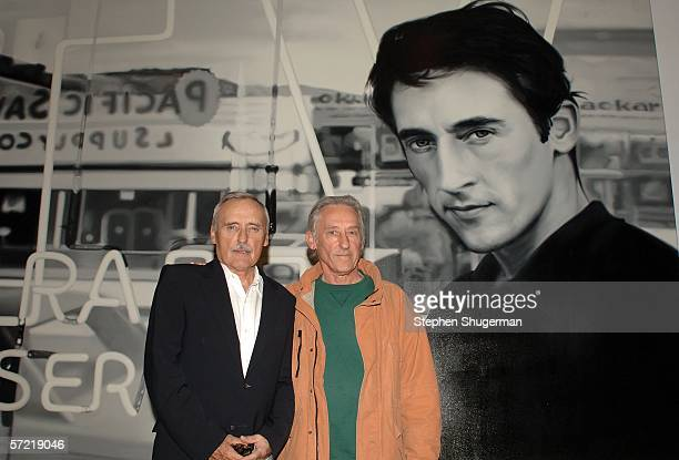 """Artist/actor Dennis Hopper and artist Ed Ruscha attend the private opening of Dennis Hopper's """"A Survey"""" exhibit held at ACE Gallery on March 30,..."""